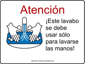 Customize Hand Washing Sink Only Kitchen Sign In Spanish