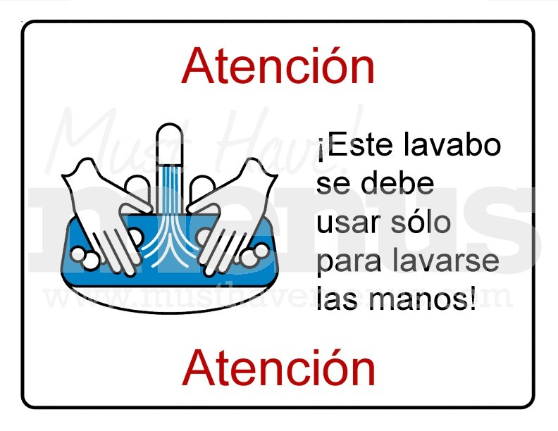 hand washing sink only kitchen sign in spanish page 1. Black Bedroom Furniture Sets. Home Design Ideas