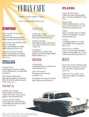 Customize Your Car Online >> Cuban Latin Menu | Latin Fusion Menus