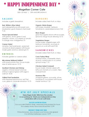 Fireworks 4th of july menu template archive for 4th of july menu template