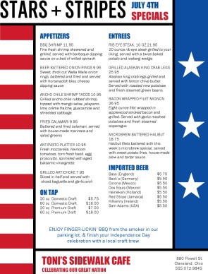 Stars and stripes 4th of july menu 4th of july menus for 4th of july menu template