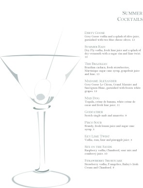 Summer Cocktail Party Menu | Bar Menus