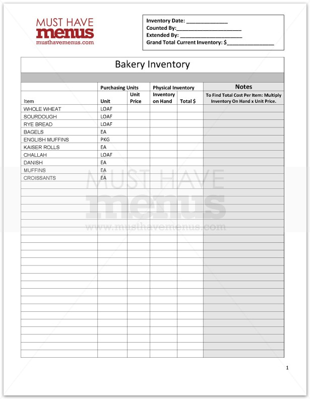 Bakery Inventory Form Page 1