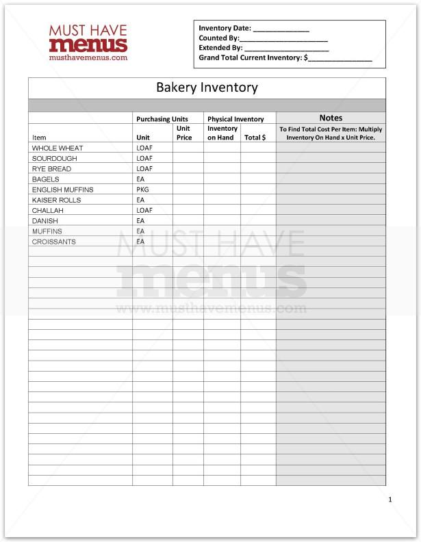 sample inventory checklist