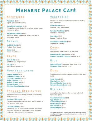 Vegetarian Indian Menu Menus