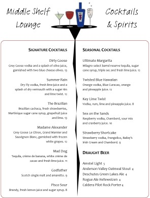 Table cocktail menu template archive for Table 52 drink menu