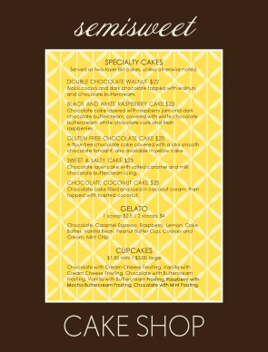 Customize Semisweet Chocolate Menu