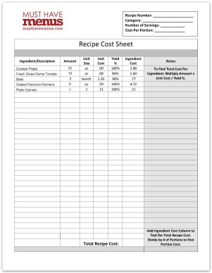 Recipe Cost Form Template Restaurant Management Tools