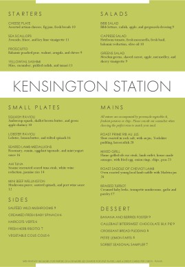 British Restaurant Menu A4 A4 Menus