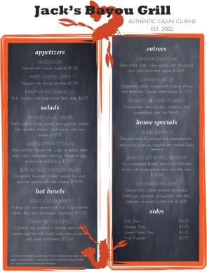 Cajun Cafe Menu Soul Food Menu