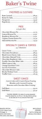 Customize Bakery Cafe Menu