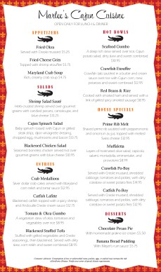 Customize South Cajun Menu Long