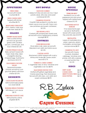 Customize Zydeco Cajun Menu