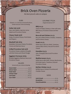 Brick Oven Pizza Menu Template Archive