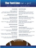 Football Bar Food Menu