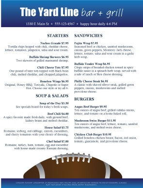 Football bar food menu sports bar menus for Food bar menu