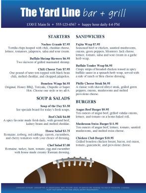 Football Bar Food Menu Sports Bar Menus