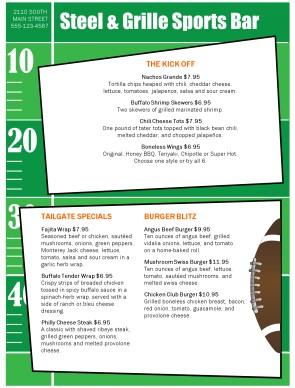 bar football menu sports bar menus