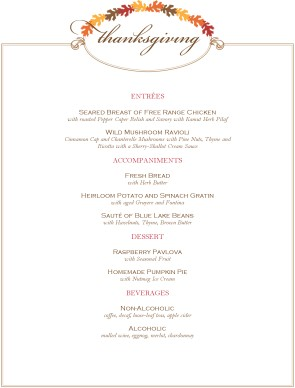 Customize Restaurant Thanksgiving Menu