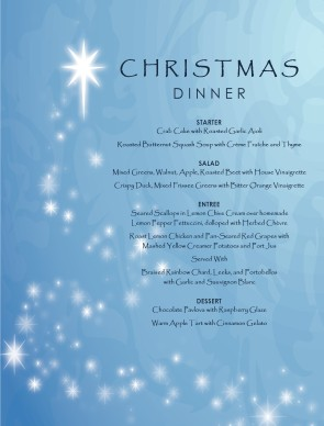 Customize Hotel Christmas Menu