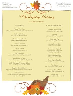 Catering Thanksgiving Menu Thanksgiving Menus