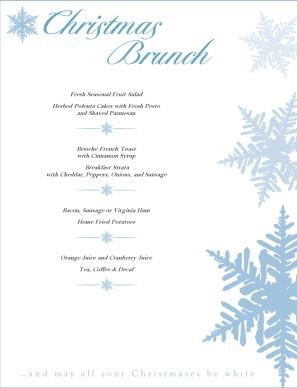 Christmas Brunch Menu | Christmas Menus