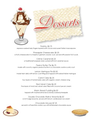 Captivating Customize Diner Dessert Menu  Dessert Menu Template
