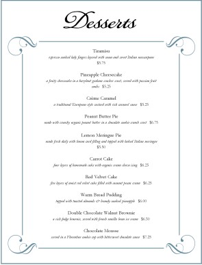 desserts menu dessert menus. Black Bedroom Furniture Sets. Home Design Ideas