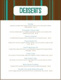 Chocolate Desserts Menu