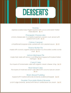 Chocolate Desserts Menu Dessert Menus