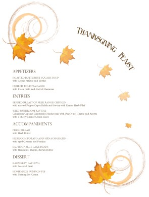 Customize Autumn Thanksgiving Menu