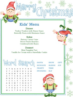 Customize Christmas Kids Menu