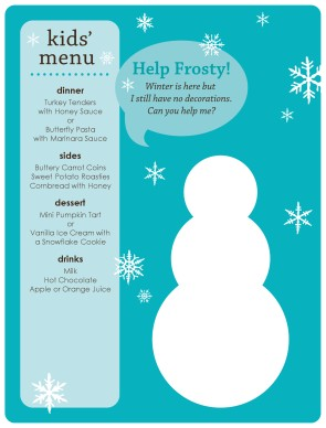 Winter Kids Menu Christmas Menus