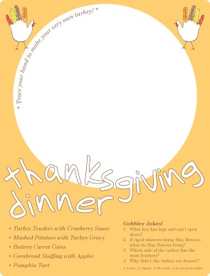 Customize Kids Thanksgiving Menu