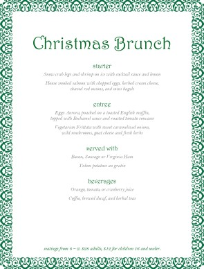 Customize Christmas Party Buffet Menu