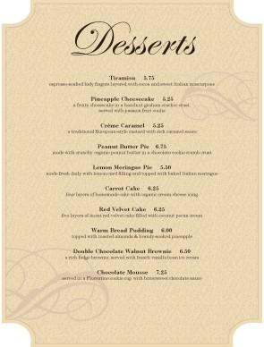 dessert food menu dessert menus. Black Bedroom Furniture Sets. Home Design Ideas