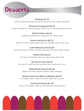Customize Healthy Dessert Menu  Dessert Menu Template