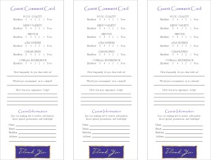 Customize Guest Comment Card