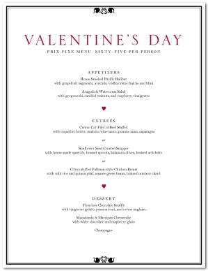 Valentine S Day Dinner Menu Template Valentine S Day Menus
