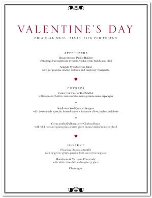 Valentine S Day Dinner Menu Template Valentine S Day Menus