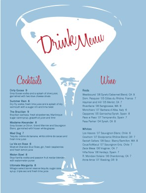 The Bar Menu | Bar Menus
