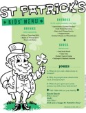 St Patricks Kids Menu