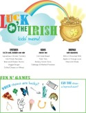 St Patricks Day Kids Menu