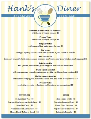 Image Result For Free Room Service Menu Template