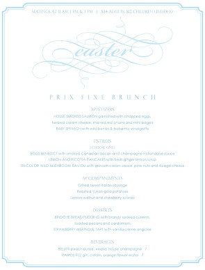 Customize Menu for Easter Brunch