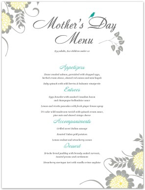 Menu For Mothers Day Letter Template