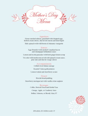 Mothers Day Lunch Menu Mother S Day Menus
