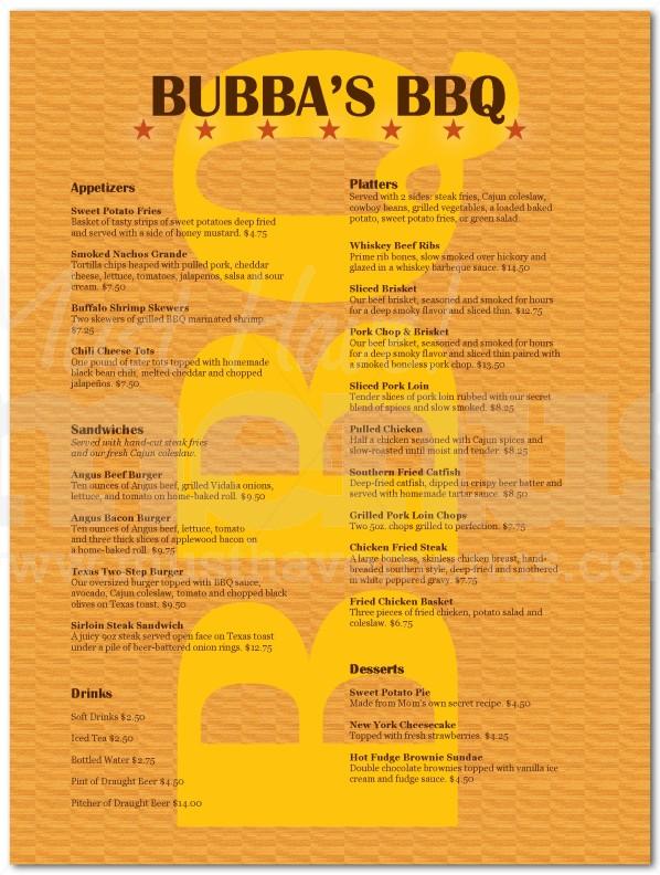 restaurant menus samples