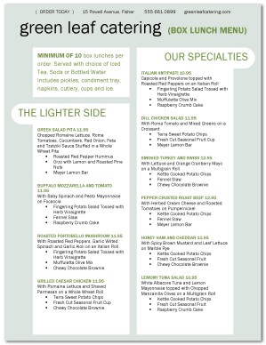 catering box lunch menu template lunch catering menus