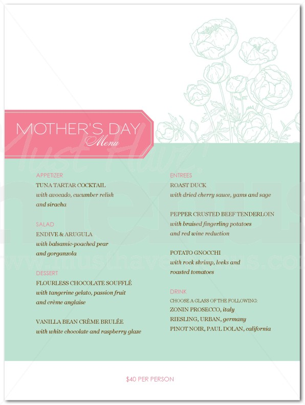 Mothers Day Dinner Menu | page 1